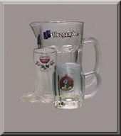 beer glasses collection - mugs, boots, pitchers